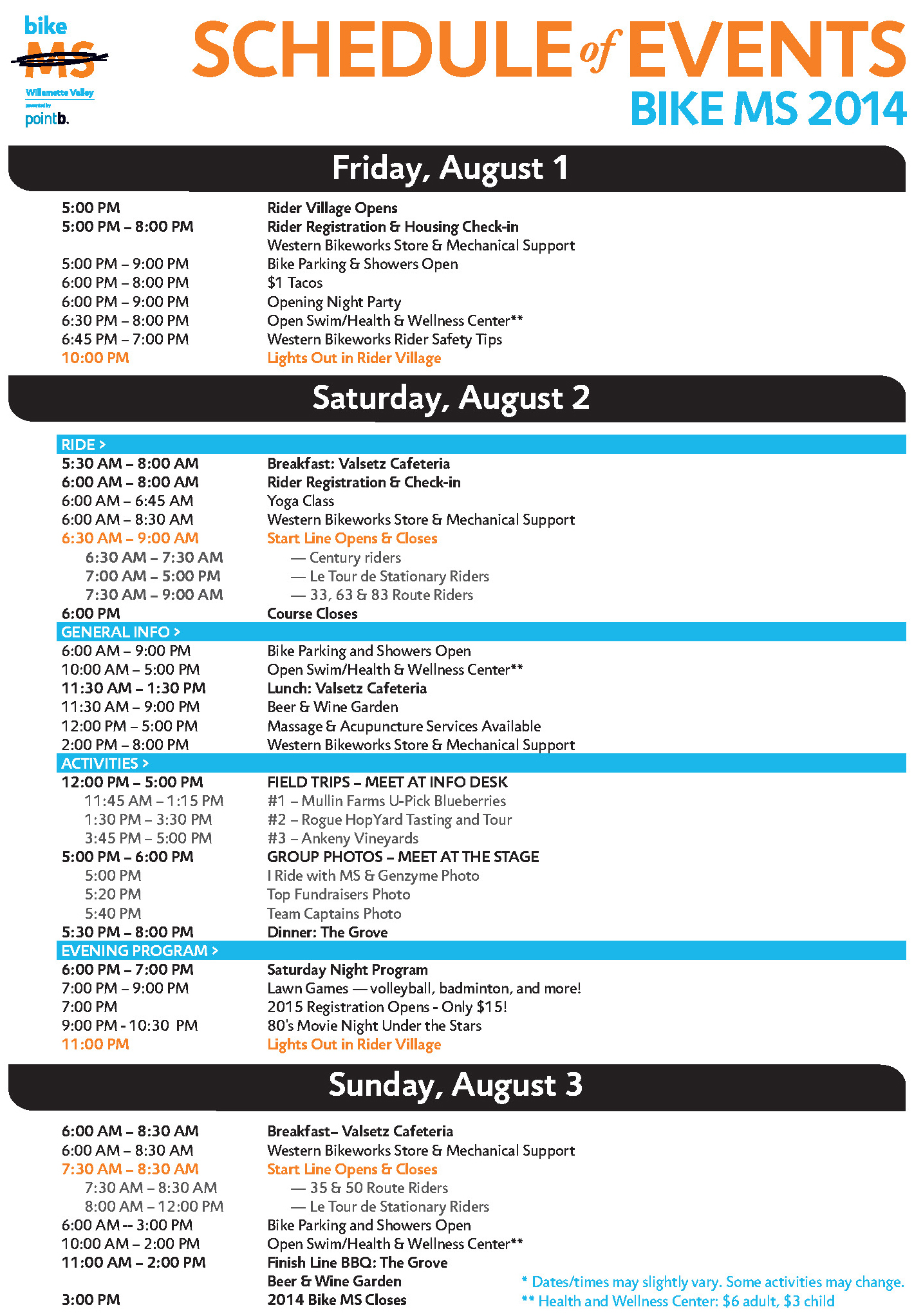 Bike MS Event Schedule 3